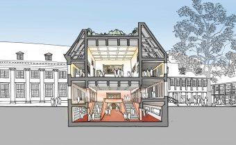 © Neutelings Riedijk Architecten. Schets van de Stadshal en topstukkenzaal (dwarsdoorsnede) in het hart van het museumcomplex aan de Kalverstraat